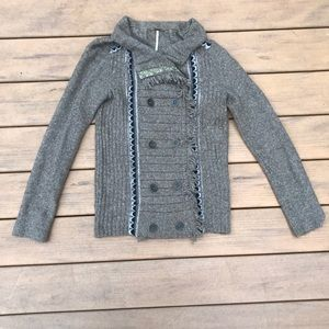 Free People taupe button up sweater size small